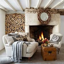 camino stile provenzale firewood wall living space design decor chalet