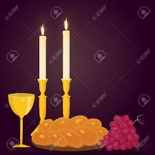 shabbot candles illustration of shabbat candles kiddush cup and challah royalty