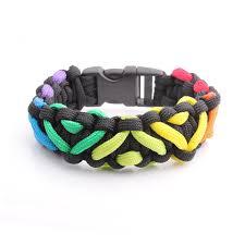themed bracelets lgbt pride themed rainbow black heart weave paracord bracelets