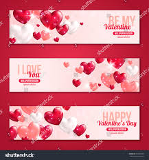 valentines day horizontal banners set hearts stock vector