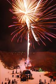 new year s fireworks and torchlight skiing moonlight
