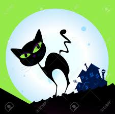 spooky house clipart spooky cat silhouette with full moon in background black cat