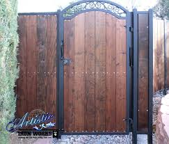 wrought iron and wood gate fence ideas and stay
