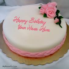 pink rose happy birthday cake with name birthday cakes