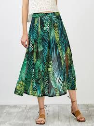 high waisted skirts 2018 leaf print slit high waisted skirt green l in skirts online