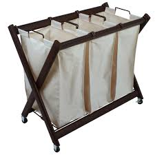 3 Section Laundry Hamper by Greenway Deluxe Steel Triple Laundry Sorter Gfl7800brc The Home