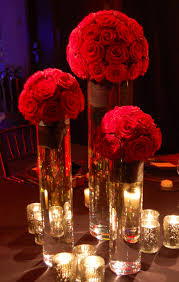 Wedding Candle Centerpieces Red Rose Flower And Candle Centerpiece Wedding Pinterest