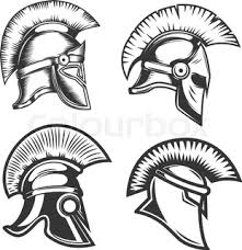 warrior helmets black icons or logos set soldier armor ancient