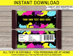 Free Printable Halloween Candy Bar Wrappers by Neon Glow Hershey Candy Bar Wrappers Personalized Candy Bars