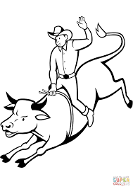rodeo bull rider coloring page free printable coloring pages
