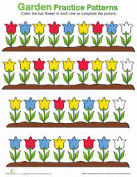 patterns in kindergarten flower pattern worksheet education