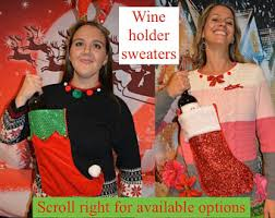 wine holder stocking ugly sweater etsy