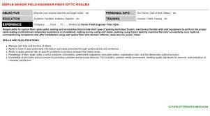 senior field engineer fiber optic cover letter u0026 resume