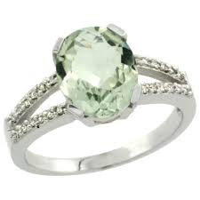 green amethyst engagement ring 14k white gold jewelry color gemstone rings green amethyst
