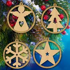 4pcs angel tree snowflake star combination suit wooden laser
