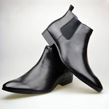 mens black leather smart formal casual chelsea boots shoes mens