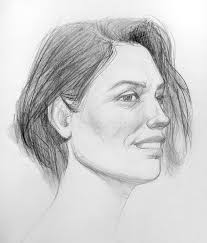 black and white drawing of a woman face with a slight smile stock