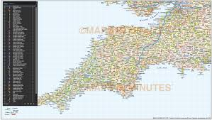 Cornwall England Map by South West England County Road And Rail Map At 750k Scale In