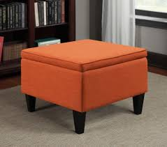 storage ottoman flip over top home furniture orange linen like
