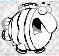 cartoon clipart of a black and white scared clownfish vector