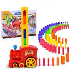 creative dominoes building blocks electric train track kids