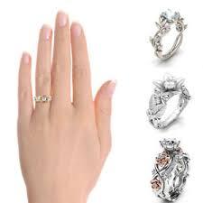 Wedding Ring Finger by Crystal Flower Wedding Ring Women Electroplating Zircon Finger
