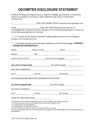 Bmv Power Of Attorney Form by Free Odometer Disclosure Statement Form All 50 States Word