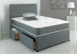 Divan Bed Set New Grey Memory Foam Divan Bed Set With Mattress Headboard 3ft