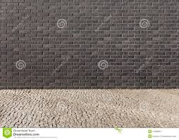 empty interior with a wall from a dark brick with a pattern and