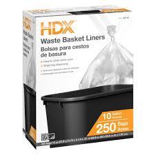 hdx 10 gal high density waste basket liner 250 count hd10250h