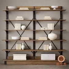 Iron And Wood Bookcase Country Retro Mash Iron Wood Bookcase Showcase Villa Floor Trade