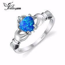 claddagh ring story aliexpress buy blue opal claddagh ring solid 925