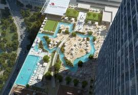 marriott marquis houston will include rooftop lazy river shaped like