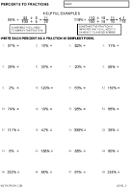 Worksheet On Converting Decimals To Fractions Percent Worksheets By Math Crush
