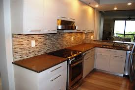 mirrored tile backsplash new cabinets plate steel countertops