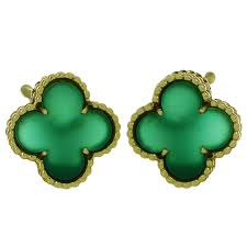 1970s earrings 1970s cleef and arpels alhambra green chalcedony gold earrings