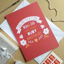 wedding anniversary cards personalised ruby wedding anniversary card by ello design