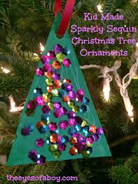 sparkly sequin christmas tree ornament kid made craft the eyes