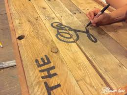 How To Make Hardwood Flooring From Pallets Diy Pallet Sign For Our Farmhouse Front Porch Lehman Lane