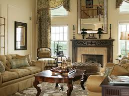 brown vintage livingroom with traditional curtain decor for