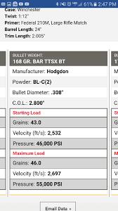 Barnes 168 Tsx 308 Load Data Anyone Load 308 With Hodgdon Bl C 2 Carolina Shooters Club