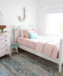 ruffle girls bedding girls shared bedroom why we love our blush pink ruffle bedding