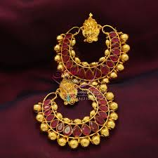 gold earrings online e0770 temple broad earrings ram leela ruby design online