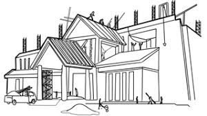 new home under construction line drawing sketch animation