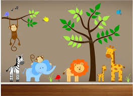 Nursery Decor Stickers Childrens Wall Decor Stickers Jungle Theme Nursery Decal Bedroom