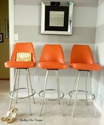 vintage chrome u0026 orange vinyl bar stools by admiral chrome corp