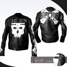 white motorcycle jacket punisher skull black biker leather jacket