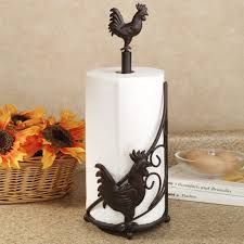 decorations rooster metal paper towel holder on granite