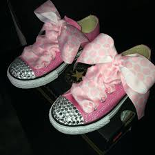 ribbon shoe laces kids pink converse w sparkle gems and pink polka dot ribbon shoe