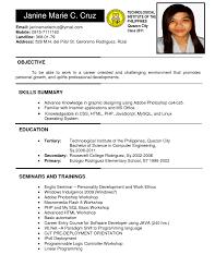 resume format sample doc philippines free resume cover letter